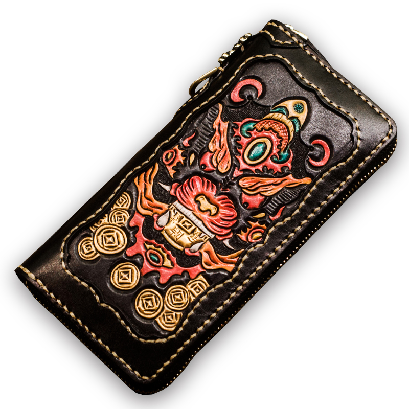 Original men wallets long leather three-dimensional engraving handmade suture Genuine Leather women wallets and purses handmade men wallets cowhide engraved cross devil pestle ornaments womens wallets and purses long leather clutch purse