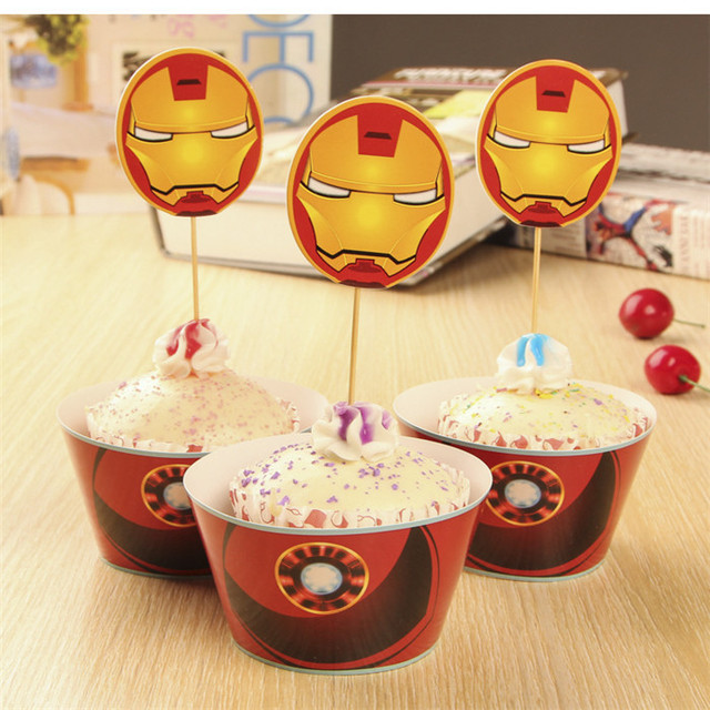 24pcs Iron Man 12pcs Cupcake Wrappers Cake Toppers Pickskid Birthday Favors Party Decorations Supplies Festa Baby Shower