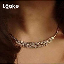 Loake The New Choker Necklace Gold Color Vintage Necklace Rhinestone Boho Chocker Party Accessiories For Women Gift