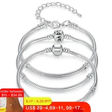 BAMOER 5 Style Silver Color LOVE Snake Chain Bracelet & Bangle 16CM-21CM Pulseras Lobster PA1104(China)