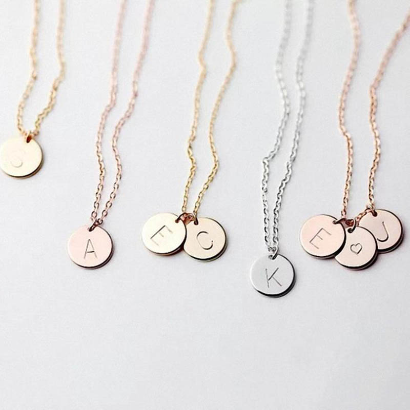 Fashion Name Necklace with Letter Initial Choker Necklace Women Gold Silver Color Coin Pendant Necklace Dainty Naszyjnik Jewelry