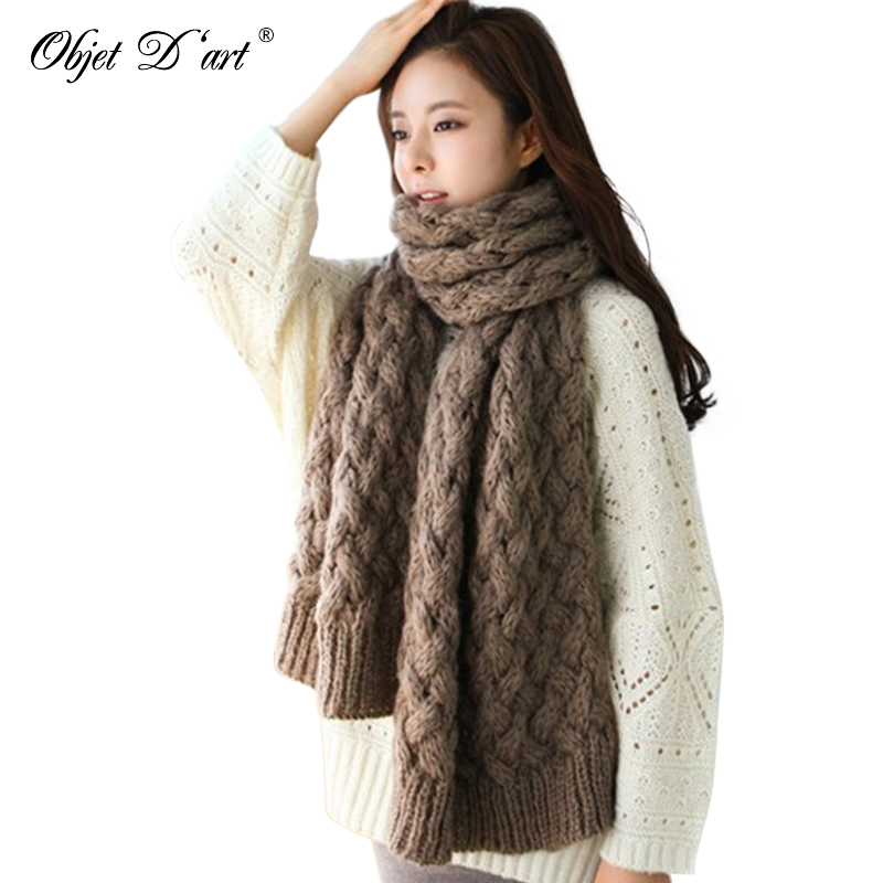 New Brand Winter Solid Color Women Thick Knitted Scarf Long Woolen Pashmina Warm Shawls Scarf Neck Warmer Best Ladily Gift