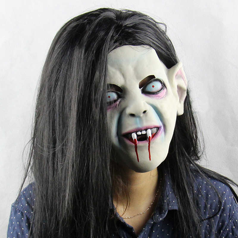 Halloween Scary Mask For Costume Movie The Ring Long Hair Sadako Cosplay Latex Mask Creep Horror Party Full Face Mask For Adult