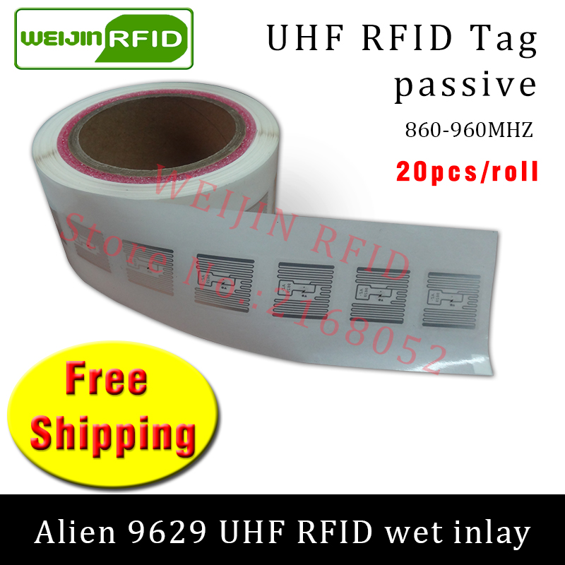 UHF RFID tag sticker Alien 9629 wet inlay 915m868 860-960mhz Higgs3 EPC 6C 20pcs free shipping self-adhesive passive RFID label 915mhz long range passive uhf rfid tag inlay label for warehouse management