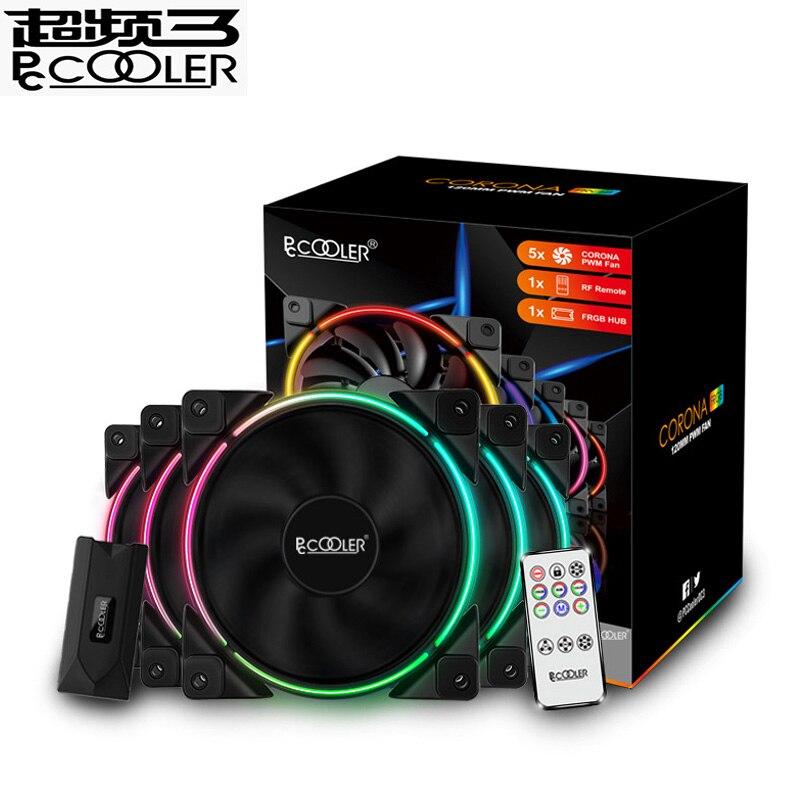 PcCooler 5 Pack 120m RGB 12V 5V pc fan 4pin PWM Quiet for CPU cooler Liquid