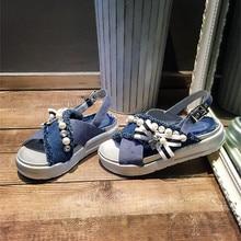 Choudory 2017 Summer Women Wedges Sandals Denim Rhinestone Strap Slippers Real Leather Peep Toe Pearl Flip Flops Sandalias Shoes