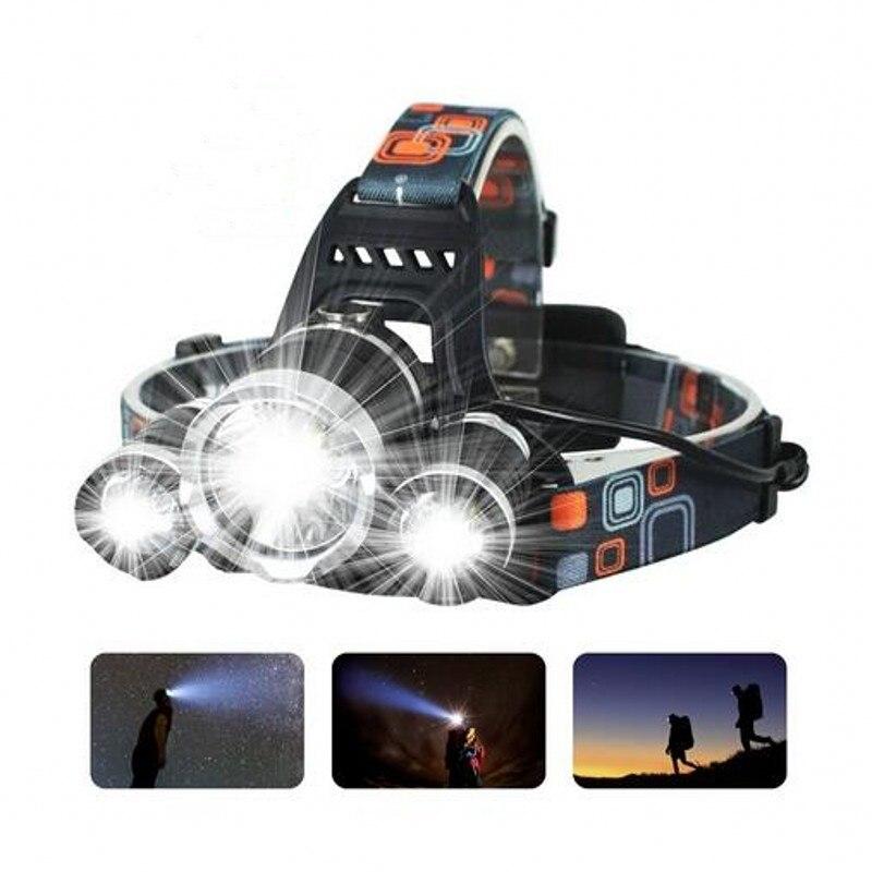 New Headlight XM-L 3XT6 LED Head Light 4 Modes Headlamp Lantern Hunting Bicycle Head Flashlight+Car AC Charger+Battery+USB cable 4