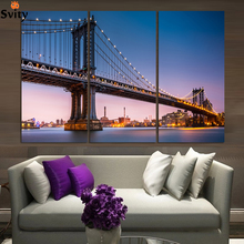 (No Frame)City Night and Bridge 3 Panels/Set Large HD Picture Canvas Print Painting Artwork Wall Decorative Oil painting