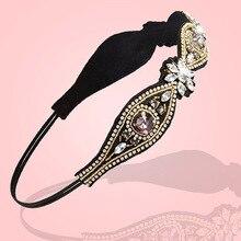 Горячая распродажа женщин великолепный горный хрусталь бусины повязка на голову упругой Hairband свадебные прически соучастником