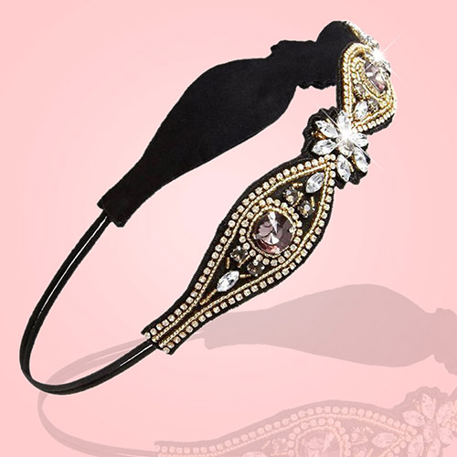 Hot Selling Women Gorgeous Rhinestone Beads Headband Elastic Hairband Wedding Hair Accessary