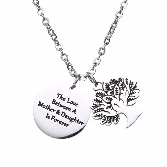 Stainless Steel Family Gifts Necklaces Love Between Mother Daughter