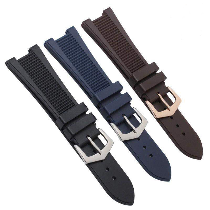 shengmeirui FOR PP NAUTILUS Watches Watchband Silicone Rubber Bands 5711 5712 <font><b>7010G</b></font> Wristwatch Band Sports Watch Straps 25*13MM image