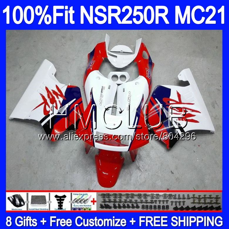 Stock red New Injection For HONDA <font><b>NSR</b></font> <font><b>250</b></font> R MC21 PGM3 NSR250R 90 91 92 93 94HM.11 NSR250 R NSR250RR 1990 1991 1992 1993 Fairings image