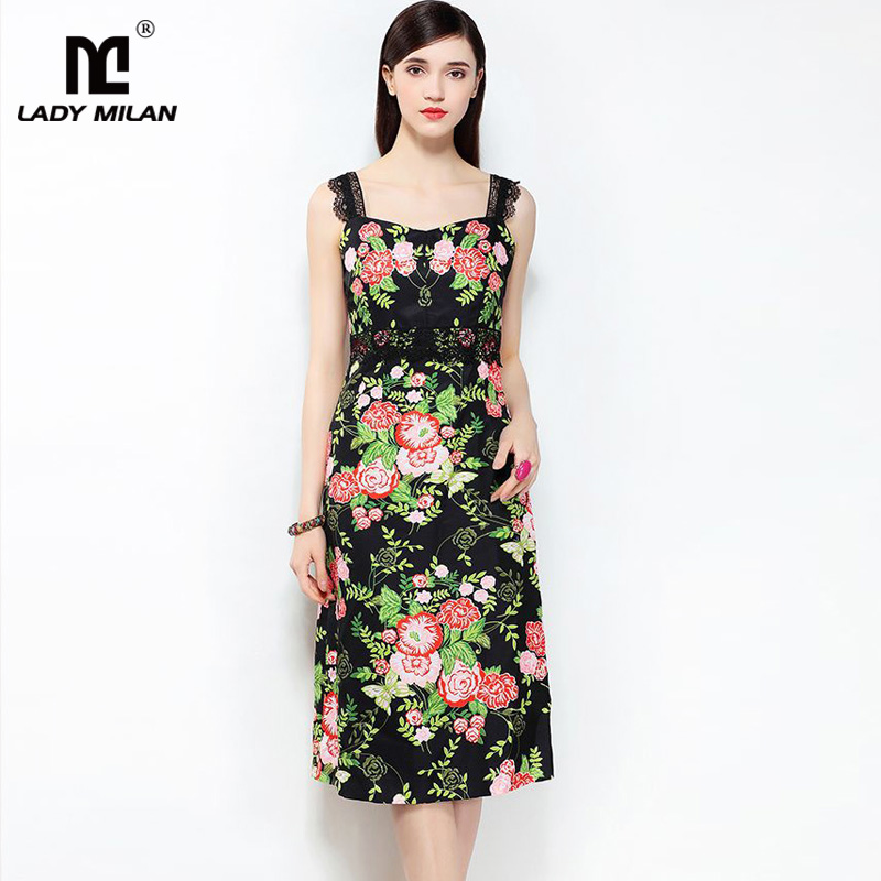New Arrival 2018 Womens Spaghetti Straps Floral Printed Lace Detailing Fashion Casual Dresses