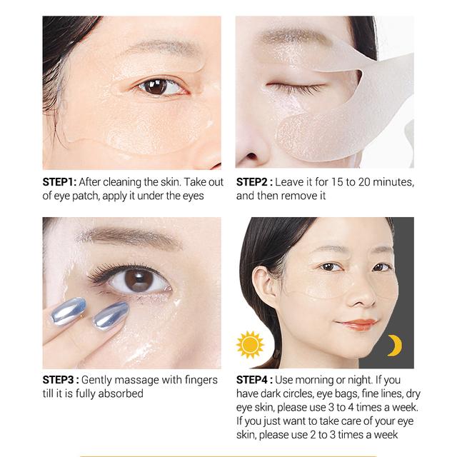LANBENA Retinol Hyaluronic Acid VC Eye Mask Eye Patches Repair Eye Lines Reduces Dark Circles Bags Nourish Hydration Eye Care