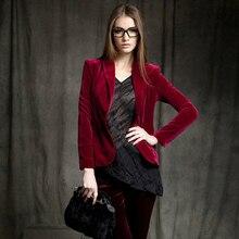 Fashion gold velvet Blazers female jacket women coat suit wo