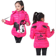 Hot!!! 4Color Baby Girls Winter Warm Cotton Jacket&Coat,Baby Girls Korean Minnie Cartoon Long Sleeve Outwear,Kids Winter Coat