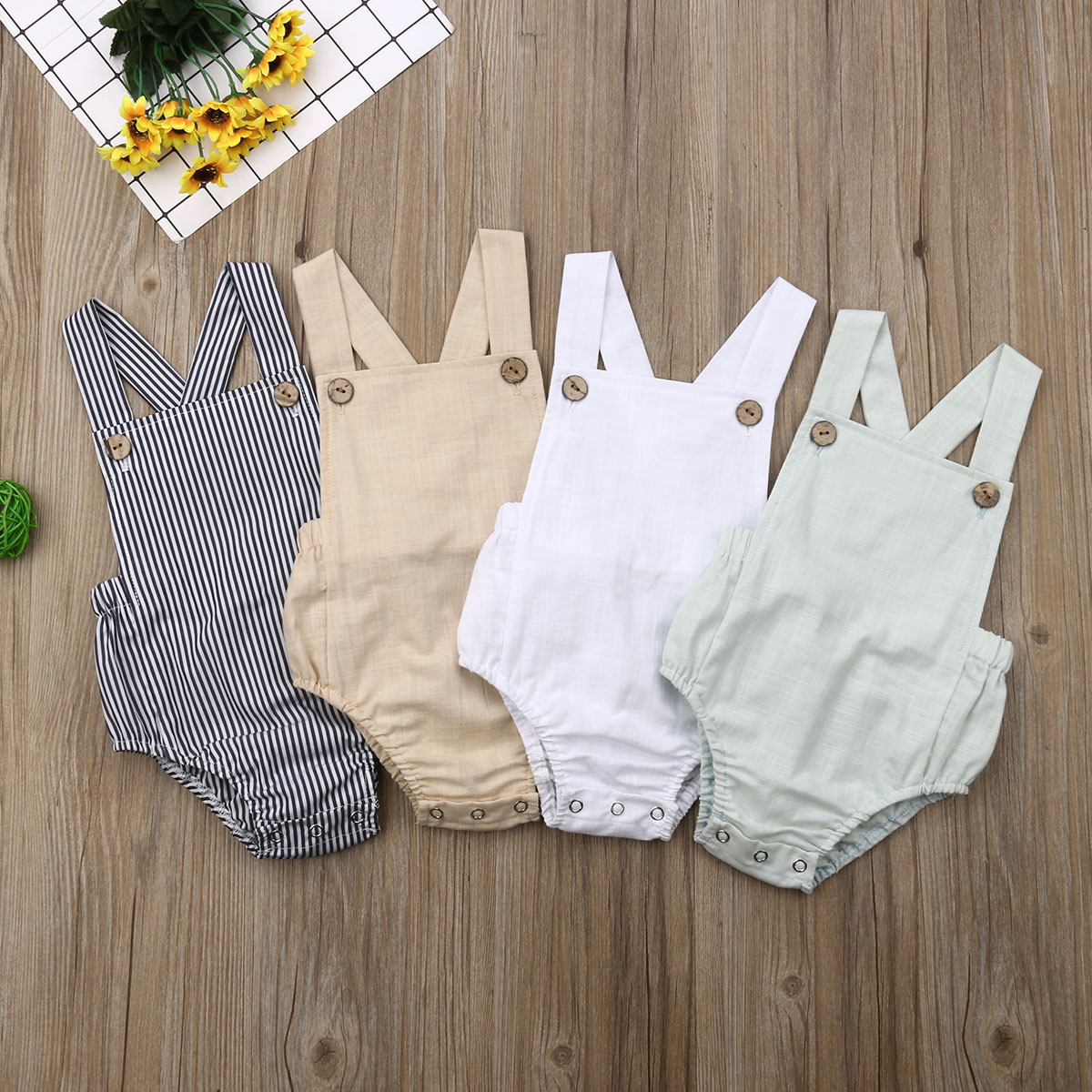 Pudcoco Summer Newborn Baby Girl Cotton Solid Cute Bottom Bodysuit Jumpsuit Outfit Clothes