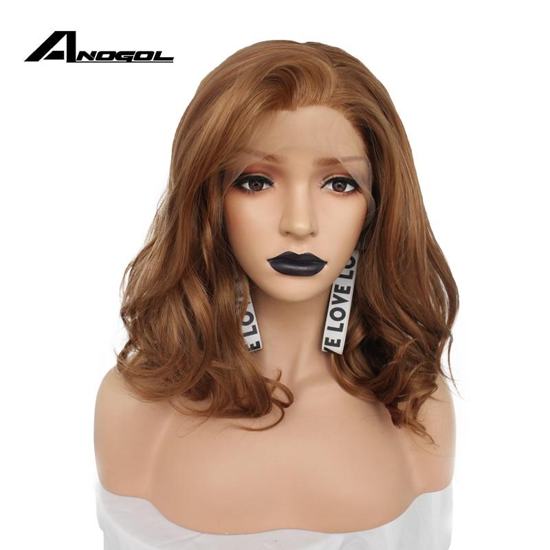 Anogol Glueless High Temperature Fiber Peruca Cabelo Short Body Wave Bob Hair Wigs Blonde Synthetic Lace