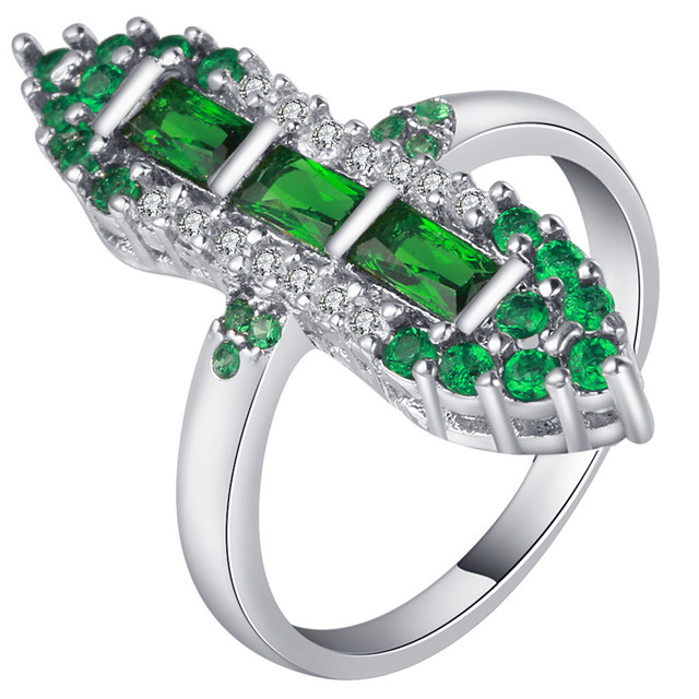 Green Marry Finger Rings With Aaa Cubic Zircon High Quality Shiny