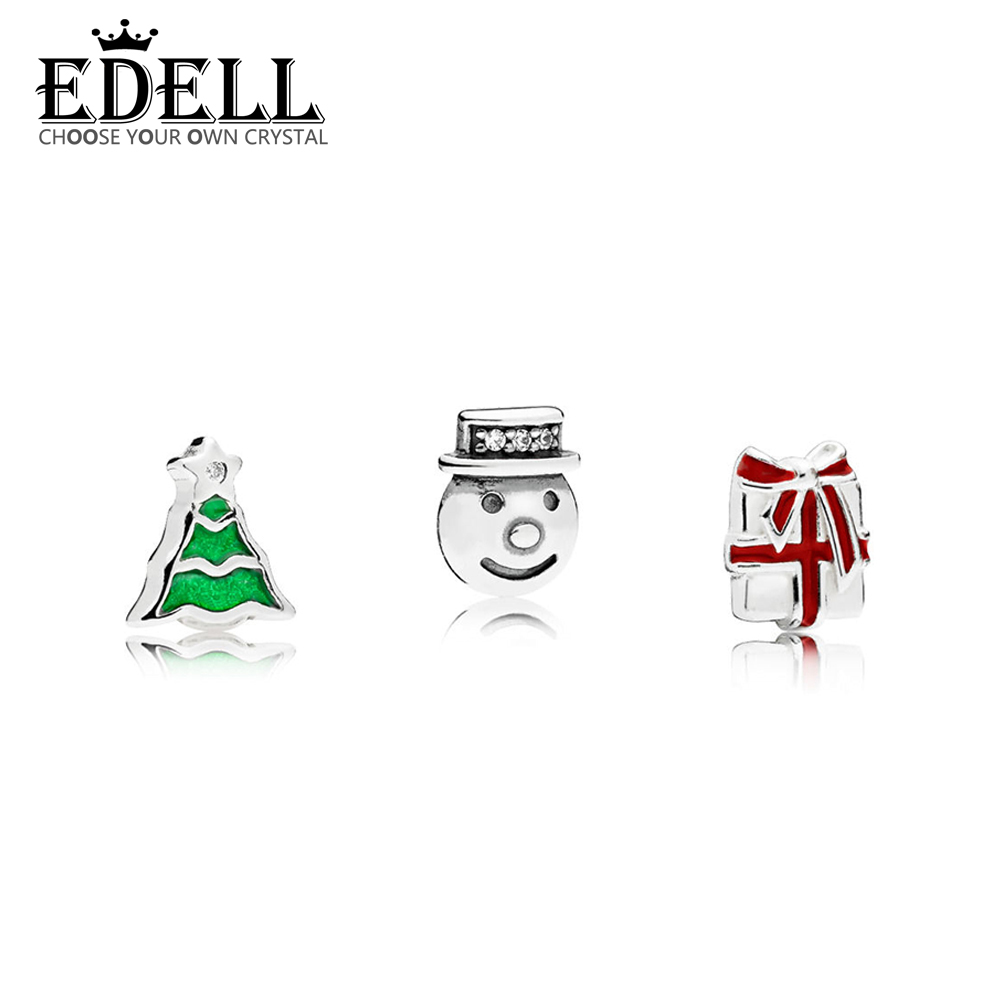 EDELL 100% 925 Sterling Silver 1:1 Floating Box Small Decorative 796352 SHINING STAR PETITE  796383CZ  SNOWMAN  CHRISTMAS TREE