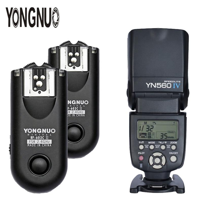 YONGNUO YN-560 IV YN560IV 2.4G Wireless Flash Speedlite With Manual Flash Trigger 2*RF-603II For Canon Nikon DSLR Cameras yongnuo yn 560 iv yn560 wireless ttl hss master radio flash speedlite 2pcs rf 605c rf605 lcd wireless trigger for canon camera