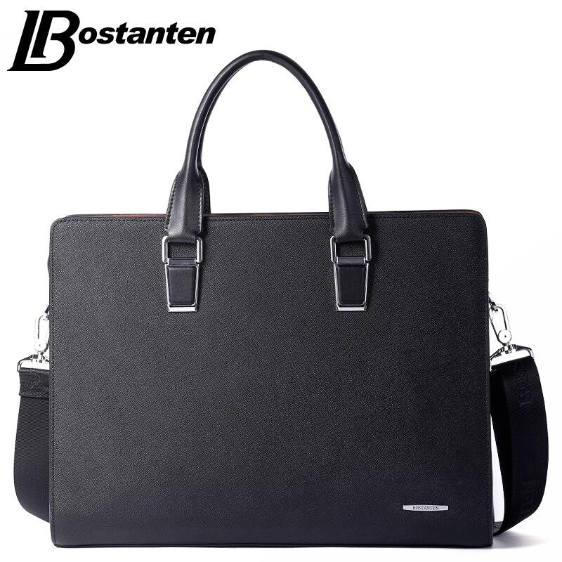 Bostanten New Men Split Leather Briefcase Laptop 13 Inch Men Briefcase Business Bag Male Shoulder Bag Crossbody Bag Tote Handbag
