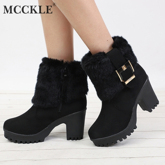 6c8d07ede2 MCCKLE Mulheres Sapatos De Salto Alto Bloco Plataforma Casuais Botas De  Neve Botas de Inverno Quente