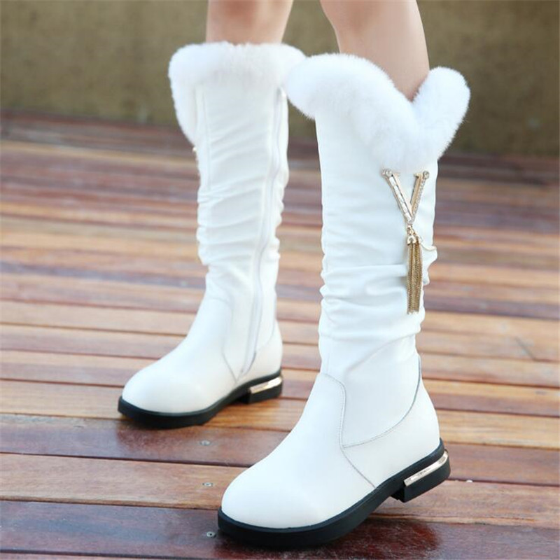 2017 autumn and winter new girls high boots plus rabbit fashion wild children warm boots Genuine Leather Children's snow boots rabbit hair lady autumn winter new weaving small pineapple fur hat in winter to keep warm very nice and warm comfortable