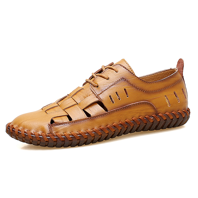 New Comfortable Roman Sandals  Men Casual Genuine Leather Fashion Summer Shoes Slippers Breathable VKERGB