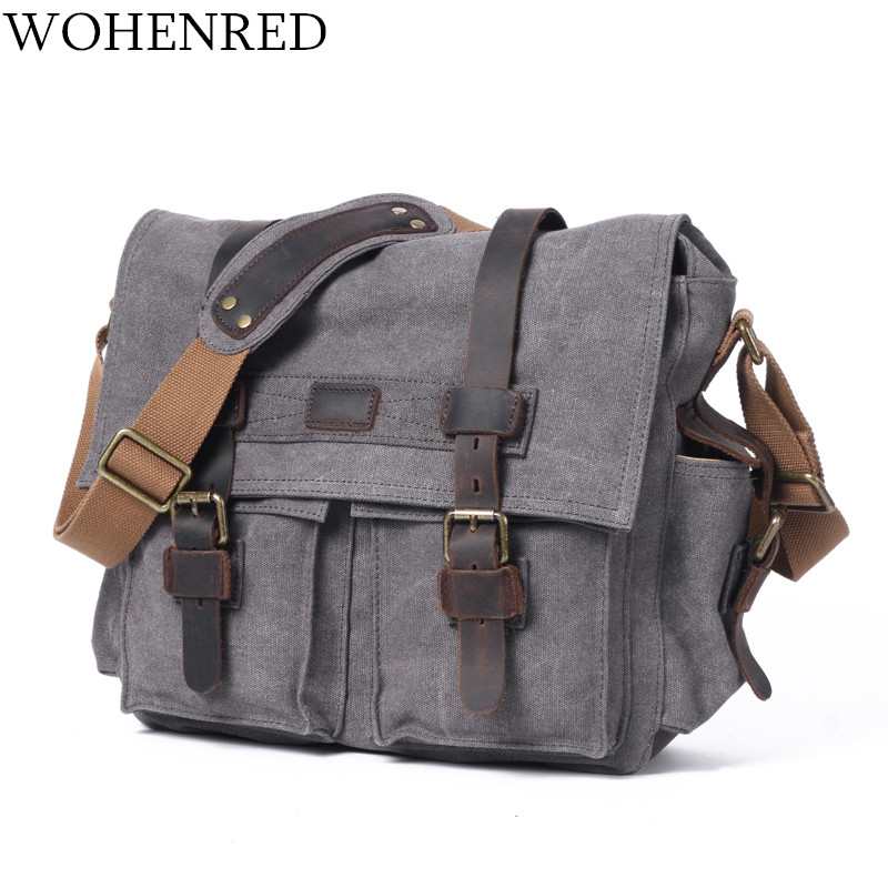 Vintage Men's Messenger Bags Leather Canvas Laptop Computer Shoulder Bag Military Large Capacity Satchel Travel Bags Crossbody 2017 canvas leather crossbody bag men military army vintage messenger bags large shoulder bag casual travel bags