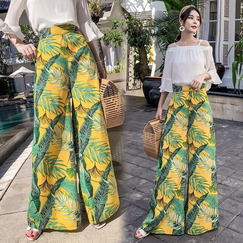 Lady Bohemian Beach Trousers Female Loose   Pants   Summer Style 2019 Women High Waist Floral Print   Wide     Leg     Pants   S-XXL
