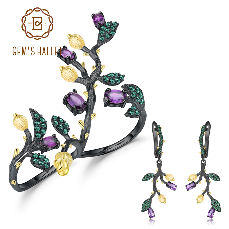 GEM S BALLET 2 72Ct Natural Amethyst Ring Earrings Jewelry Sets For Women Real 925 Sterling