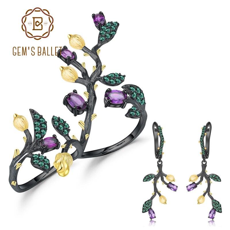 GEM'S balet 2.72Ct naturalne pierścionek z ametystem kolczyki biżuteria zestawy dla kobiet prawdziwe 925 srebro ręcznie oddział zestaw biżuterii w Zestawy biżuterii od Biżuteria i akcesoria na  Grupa 1