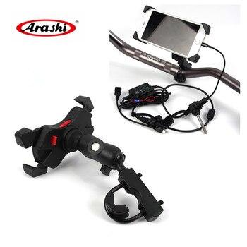 Arashi uchwyt na telefon komórkowy motocykl uchwyt z ładowania ładowarka dla iPhone dla KAWASAKI Z1000 Z800 Z750 ZX6R ZX10R VERSYS