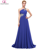 One Shoulder Evening Dresses Long 2016 Elegant Grace Karin Dresses Purple Burgundy Royal Blue Special Occasion