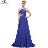 One Shoulder Evening Dresses Long 2016 Elegant Grace Karin Dresses Purple Burgundy Royal Blue Special Occasion