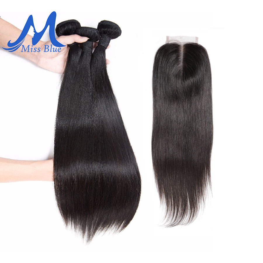 Missblue Straight 3 Bundles With Closure Brazilian Hair Weave Bundle With Lace Closure 100% Remy Human Hair Bundles With Closure