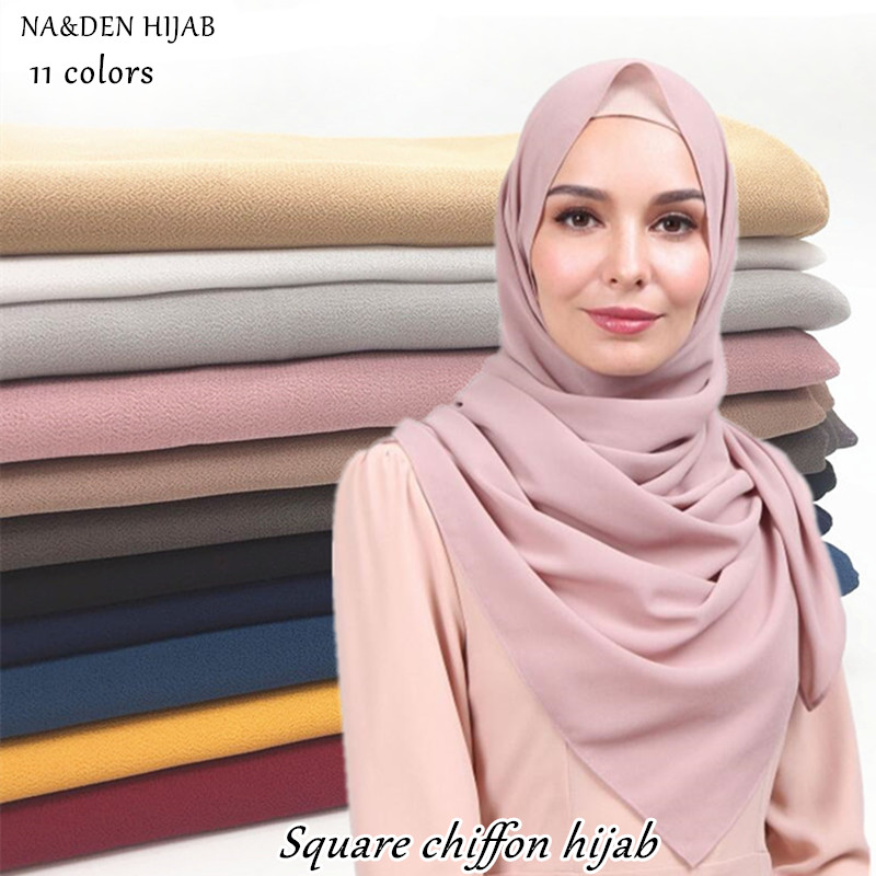 1PC NEW Square Hijabs Bubble Chiffon Scarf Solid Color Shawl Women Muslim Scarfs Fashion Hijab Muslim Headwrap Foulard 10pcs/lot