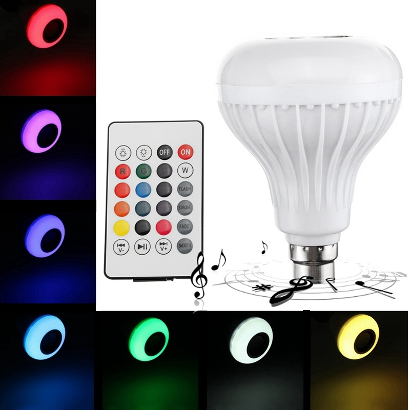 Colorful LED Lamp Bulb B22 12W RGB Wireless Bluetooth Speaker Music Player Smart LED Light Bulb With 24 Keys Remote Control smuxi e27 led rgb wireless bluetooth speaker music smart light bulb 15w playing lamp remote control decor for ios android