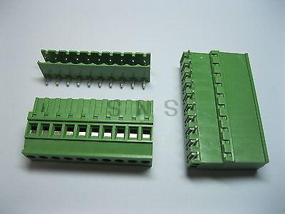 24 pcs 5.08A 5.08mm Angle 10 pin Screw Terminal Block Connector Pluggable Type 6 pin curved screw terminal block connectors green 10 piece pack
