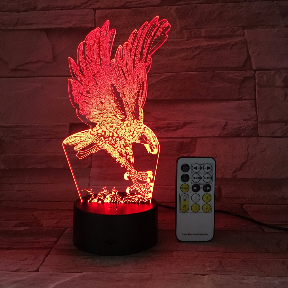 Eagle Remote or Touch Switch Control 3D Night light Baby LED light Creat Desk Lamp 7 Colored lights Atmosphere Bedroom Light