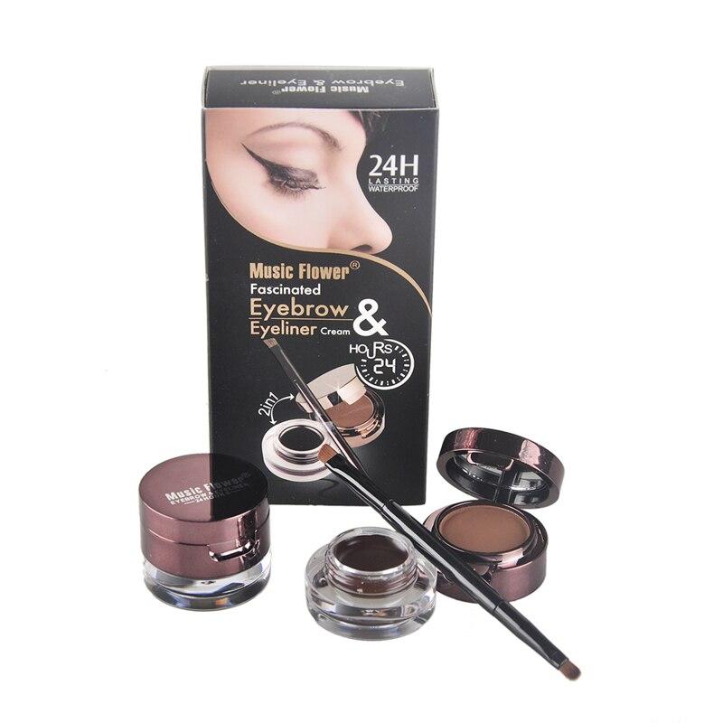 Musique Fleur Marque 4 En 1 Poudre À Sourcils Pommade + liquide Eyeliner Gel Crème avec Pinceau de Maquillage Eye Brow Sourcils Maquillage