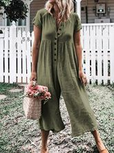 Womens Summer Solid Short Sleeve Bodysuit Loose Jumpsuit Button Casual Long Pants Rompers Plus Size