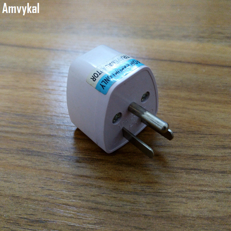 Amvykal Travel AC Power Electrical Plug Universal UK/AU/EU To US Plug Adapter Socket Converter 250V 10A White 100 Pcs/lot
