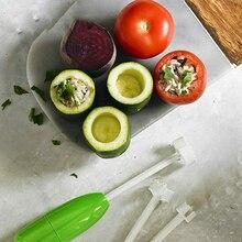 4 unids/set de diferentes tamaños de verduras cortador espiral relleno de carne de plástico tomate berenjena cortador herramientas de cocina