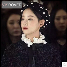 VISROVER new women beret with pearls for woman in Autumn winter Pure Wool Bead Pearl Cap Warm Girl Sweet Painter Hat Wholesale