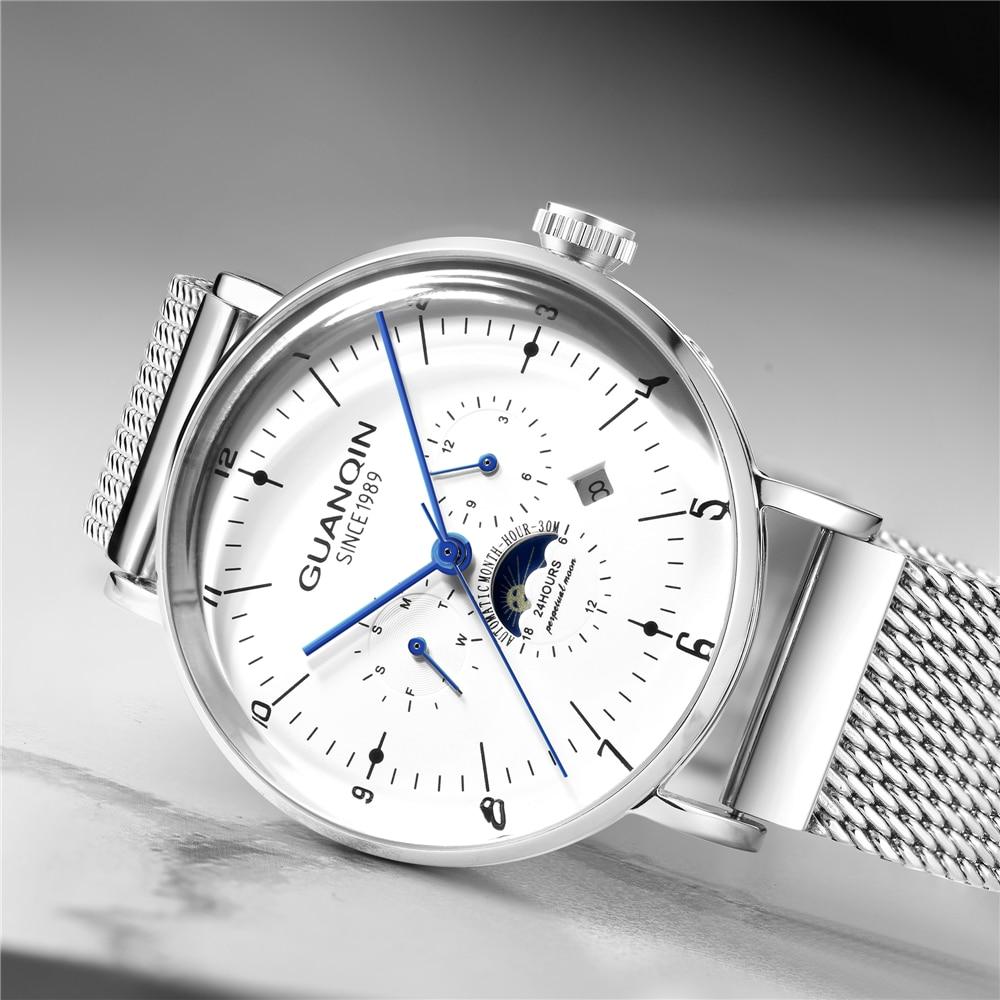 Reloj Automático GUANQIN para hombre con fase de Luna, relojes mecánicos para hombre, reloj de lujo de marca superior, reloj de pulsera de acero inoxidable, montre homme-in Relojes mecánicos from Relojes de pulsera    3