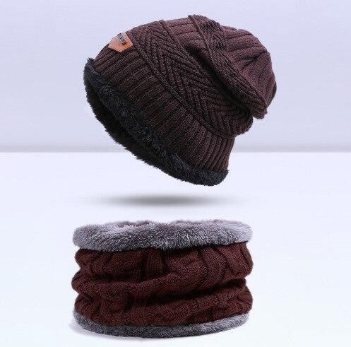 Зимняя вязаная шапка, шарф, набор, Мужская однотонная теплая шапка, шарфы, мужские зимние уличные аксессуары, шапки, шарф, 2 штуки - Цвет: Brown1