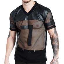Mens Faux Leather T shirts With Mesh Patchwork See Through Breathable Sexy Male Short Sleeve Tee top o neck Man t shirt